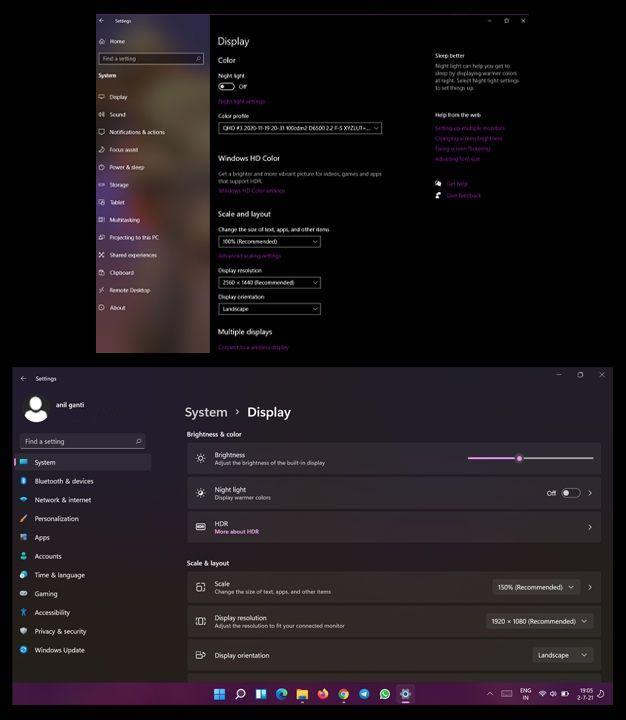 Windows 11 vs Windows 10 Display Settings